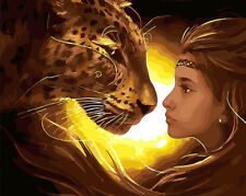 Tiger & Girl Staring Each Other Hp Printed Needlepoint Canvas E#19