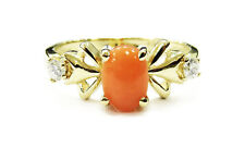 14k Yellow Gold Cabochon Pink Coral and Diamond Ladies Ring ~ 2.5g