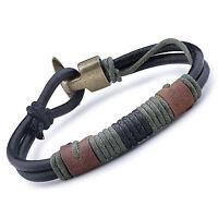 MENDINO Men's Alloy Leather Bracelet Cord Braided Rope Wrap Clasp Bangle Black