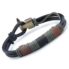 MENDINO Men's Alloy Leather Bracelet Cord Braided Rope Wrap Clasp Bangle Black