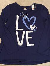 Girls Justice Navy Blue LOVE Long Sleeve Shirt 18 Plus NWT