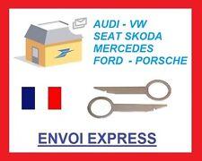 2 Chiavi estrazione autoradio smontaggio VW AUDI MERCEDES doppio din skoda