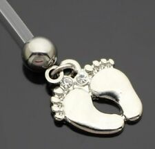 BABY FEET SILVER SURGICAL STEEL FLEXIBLE PREGNANCY MATERNITY NAVEL BELLY RING