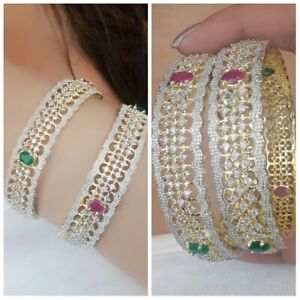 Love Gold Plated Red American Diamond Indian Bangle Bracelet Traditional Lady