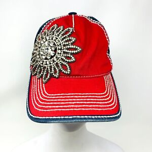 Olive and Pique Crystal Flower Baseball Cap USA Hat