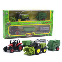 AM_ 2PCS 1/42 DIECAST TRACTOR HARVESTER FARM VEHICLE CAR MODEL KIDS TOY XMAS HOT