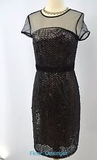 FRENCH CONNECTION mesh illusion sequin Dress hand beaded sheer LBD SZ 4 NWT $248
