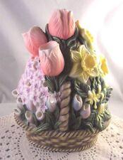 Vintage PartyLite Floral Basket Porcelain Tea Light Votive Candle Holder Mint