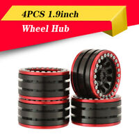 4PCS 1.9inch Metal Wheel Hub Rim Red&black for 1/10 Traxxas TRX-4 SCX10 RC Car
