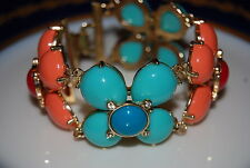 GREAT STONY TURQUOISE CORAL RED & BLUE ACRYLIC STONES STATEMENT LINK BRACELET