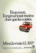 Publicité advertising 1975 Mini Austin Morris