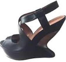 $398 Sz. 6.5 -7  Leifsdottir Cutout Wedge Platform Sandals Black Shoes (BRAZIL)