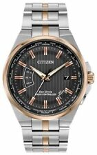 NEW CITIZEN ECO-DRIVE RADIO CONTROLLED WORLD PERPETUAL A-T CB0166-54H TWO TONE