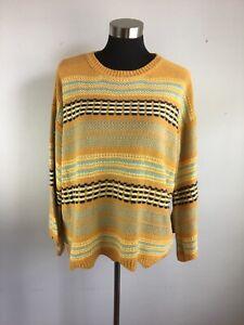 Umgee Womens Sweater S Small Orange Multicolor Stripe Bell Sleeve Oversize Boho