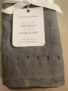 """Williams Sonoma Italian Washed Linen Table Runner 18"""" x 108"""" Gray New"""