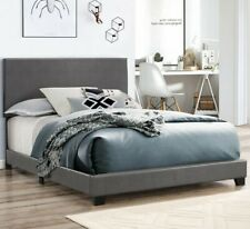 Platform TWIN Size Bed GRAY Leather Headboard Bedroom Furniture (Make an offer)