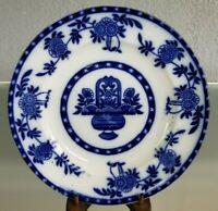 "Antique English Flow Blue 10"" Plate Hanley England Madras Bouquet Blue & White"
