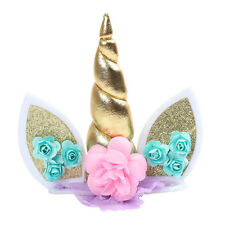 Birthday Cake Decor Topper Cute Horn Ears Flower Party Ornament Prop MEYF