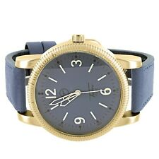 Unisex Gold Tone Wrist Watch Blue Genuine Leather Band Round Face Steel Back New