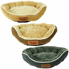 Luxury Crufts Faux Suede Fur Round Medium Pet Bed Dog Cat Puppy Kitten Comfy