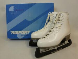 Risport RF4 White Ice Skates Skating Boots Ladies Leather Size 27.5