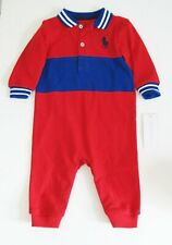 Polo Ralph Lauren Baby Boys Mesh Novelty Coverall Red Sz 6M - NWT