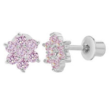 Rhodium Plated Pink Crystal Flower Baby Screw Back Earrings for Girls