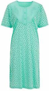 Lucky Nachthemd Damen Kurzarm Blumenstickerei Knöpfe