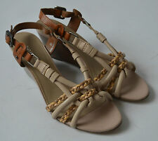 Ladies Marks & Spencer Autograph Beige Wedge Heel Sandals Shoes Size 4.5