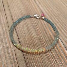 """Ethiopian Opal Bracelet & Shaded Aquamarine Beads S925 Clasp 7"""" SY-1"""