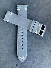 20mm DARK GRAY Suede Vintage Leather Watch Strap Band DOUBLE Stitch US Fast Ship