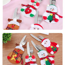 Set 4 pz segnaposto portaposate Christmas Neve posate decorazione tavola natale