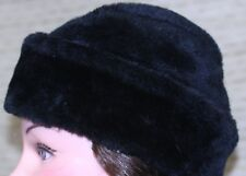 vintage DORFMAN PACIFIC Men's Hat BLACK Faux Fur Russian cossack Made USA 22 3/4