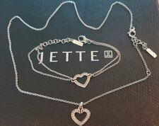 Jette Joop Schmuck Set Kette mit Pave Herz Anhänger & Herz Armband top Zustand