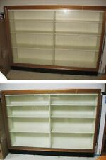 Vintage Wood Display Case with Glass Sliding Doors
