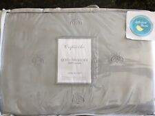 Capecchi Embroidered Bee Queen Sheet Set Gray Grey 300TC Cotton Sateen Brand New