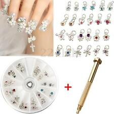 Nail Art Piercing Tip Hand Drill Hole Pierce Tool + 24 Pendant Dangle Decoration