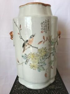 Chinese antique porcelain vase pot holder scholar art Qianjiang color by Yuchun
