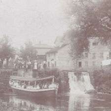 1890s BENNETT CABINET PHOTO NAVARRE OH CANAL BOAT & RIDERS AT LOCK
