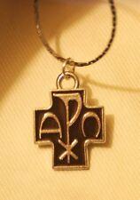 Handsome Small Brown Enamel Chi Rho Cross Alpha Omega Silvertn Pendant Necklace