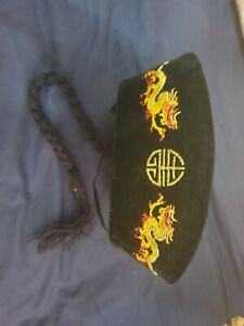 Chinese Fancy Dress Hat with Pigtail Emperor Dragon