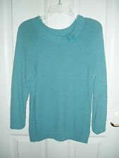 LIZ CLAIBORNE Rich Aqua Woven Sweater Ladies Large