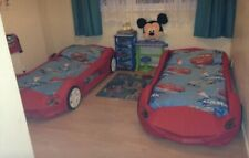 x2 Red Car Bed With Mattresses
