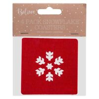 RED FELT COASTER SNOWFLAKE MATS - Christmas Table Decoration Drink Cover/Set/Mat