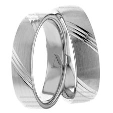 10K White Gold His and Her Wedding Band Set 5mm Wide Matching Wedding Ring Set