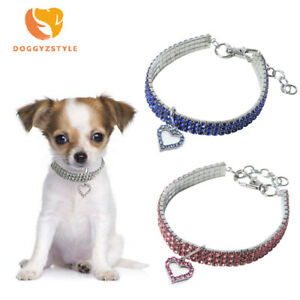 Heart Bling Crystal Dog Collar Puppy Pet Shiny Rhinestone Necklace Cat Collars