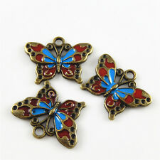 Colorful Enamel Butterfly Shaped Alloy Charms Pendants Crafts Jewelry Making 10x