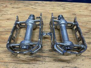 Smooth Vintage Campagnolo Pedals w/ Strap Loops 1037 GS Record Quill Steel