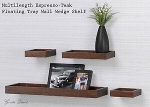Set of 4pcs Espresso-Teak and Oak effect Floating Tray Wall Wedge Shelves 60cm