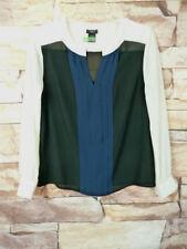 Ann Taylor  White Black Blue Long Sleeve  Blouse Size SP E-92 Pleated